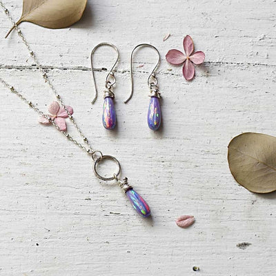Purple Fire Opal Earrings