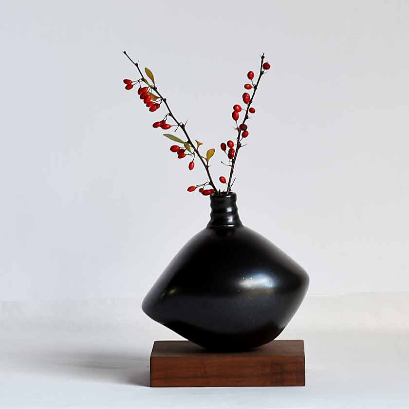 Small Off-Round Bud Vase- Black