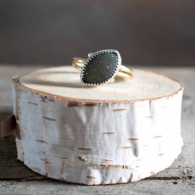 Gray Sterling and Gold  Druze Ring