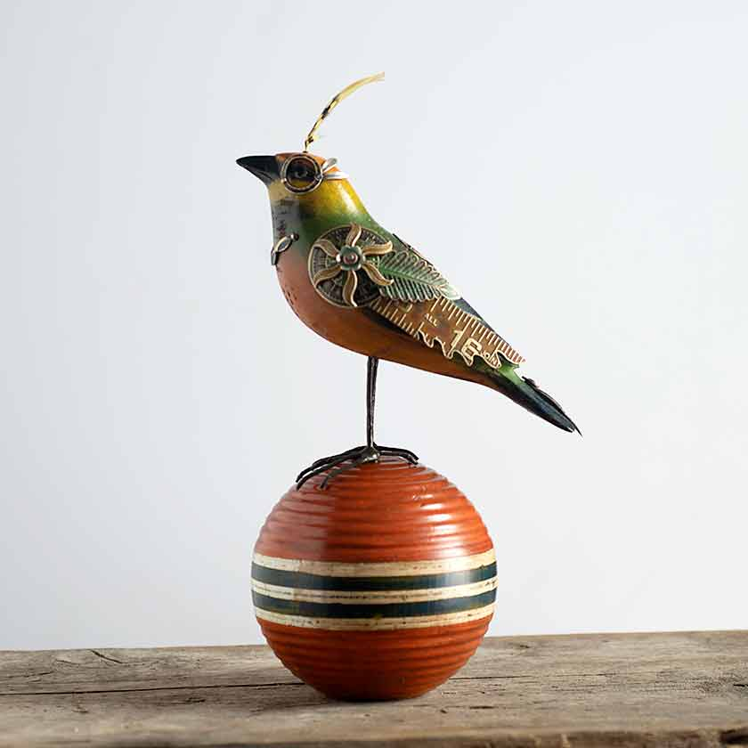 Mixed Media Bird Sculpture - Croquet Ball