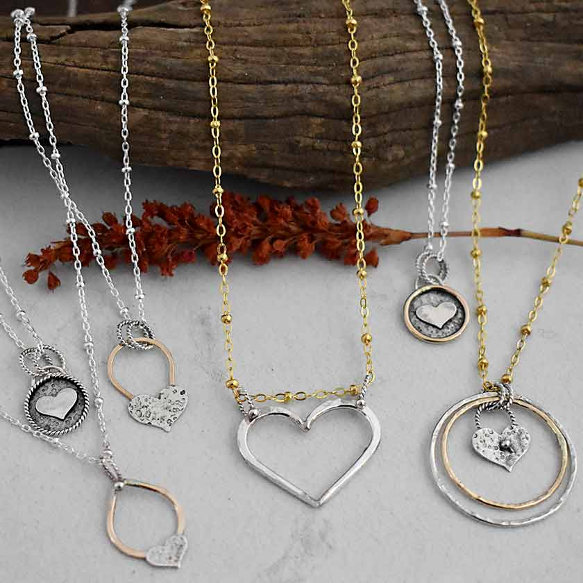 Gold and Silver Circle Heart Necklace