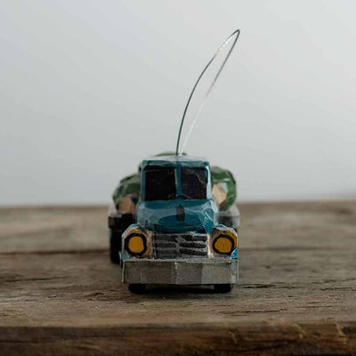 Hand Carved TruckWith Tree Ornament