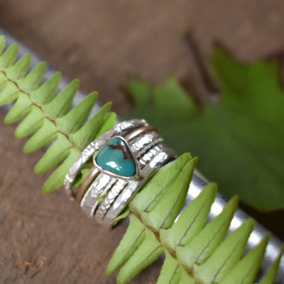 Blue Turquoise Stacker Ring Set