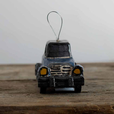 Hand Carved Blue Car Ornament