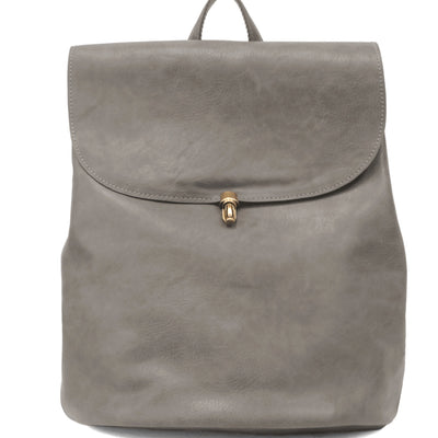 Vegan Leather Backpack-Dark Grey