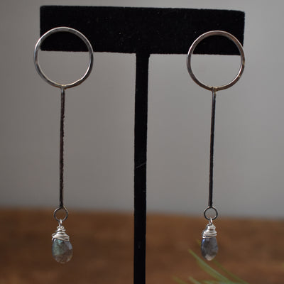 Sterling and Labradorite Camy Earring