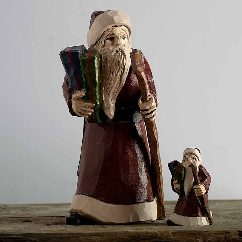 Santa With Gift Carving