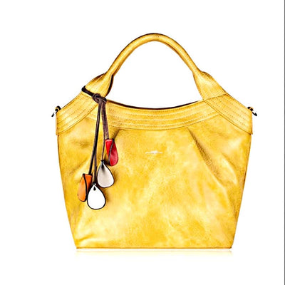 Margo Vegan Leather Tote Bag - Yellow
