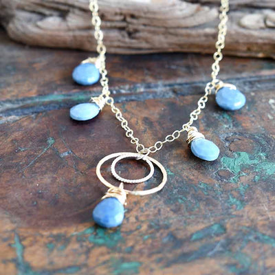 Blue Opal Gold Circle Necklace
