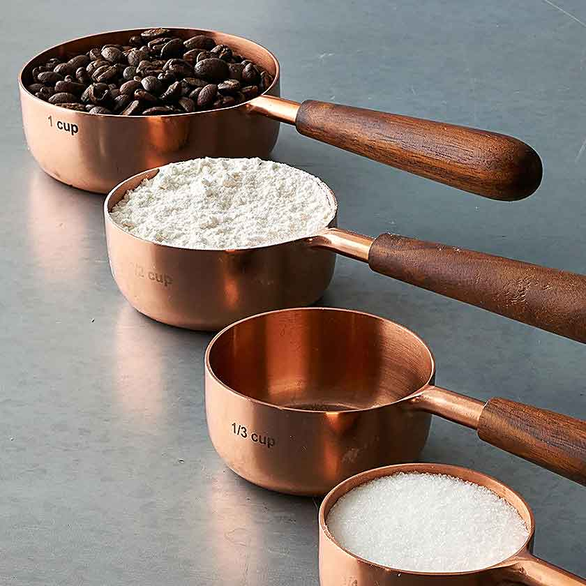 Copper Handle Measuring Spoon Black Vintage Kitchen Gift Set of 8 Measuring Cups and Spoons Set Cup