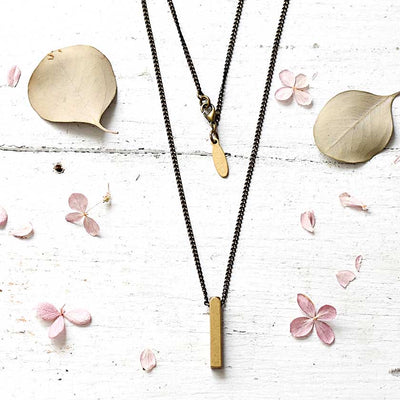 Brass Geometric Necklace - 18""