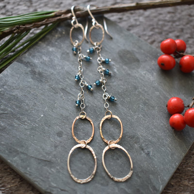 Long Dangle Aqua Earrings