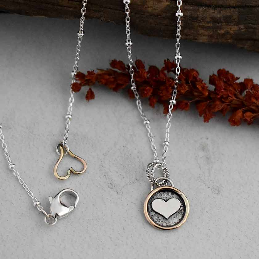 Heart Charm Necklace-Silver & Gold