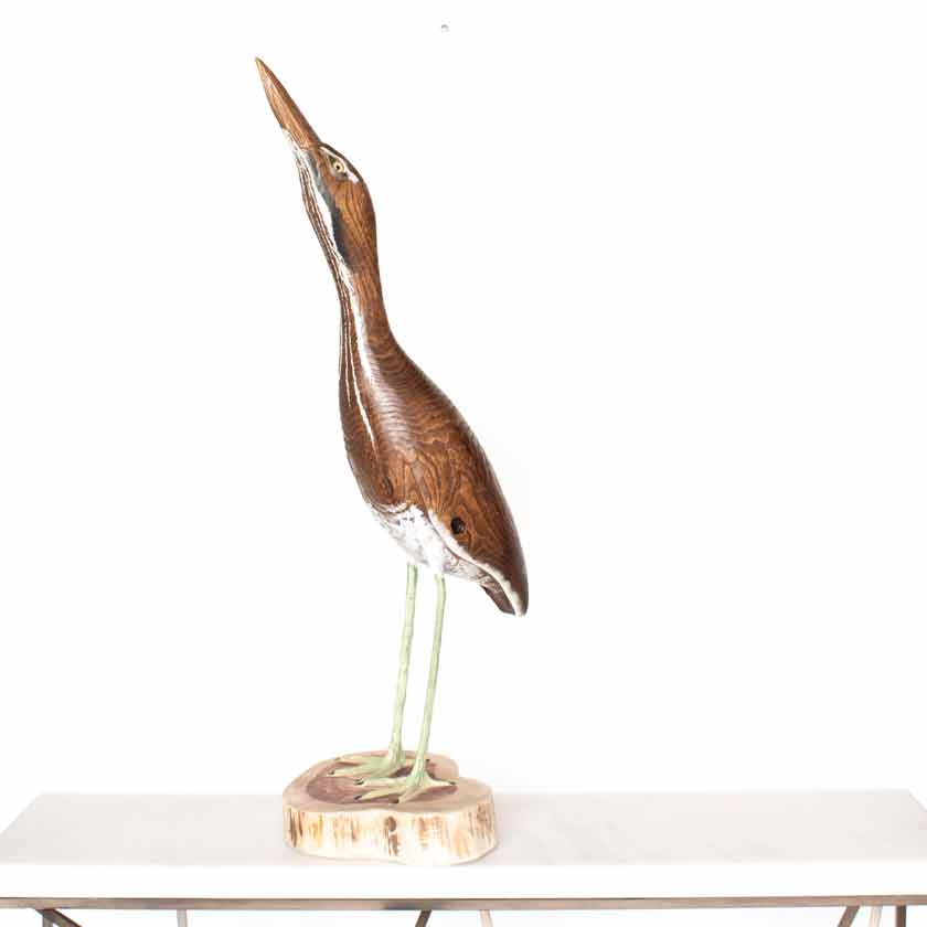 hand carved wooden bird American bittern