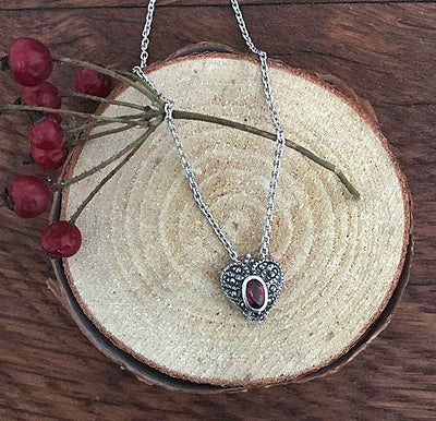 Garnet Heart Marcasite Necklace