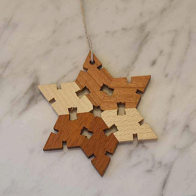 Hand-cut Wooden Snowflake Ornaments