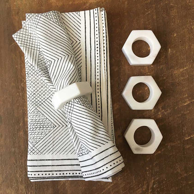 Hand-block Printed White & Black Napkins - Set of 4
