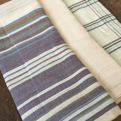 Striped And Checked Woven Dish Towel- Set of 3