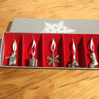 Tis The Season Pewter Ornament Set