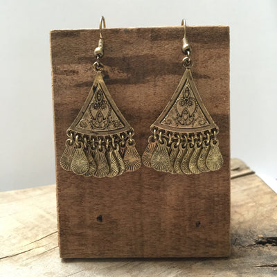 Gold Pyramid Coin Earrings