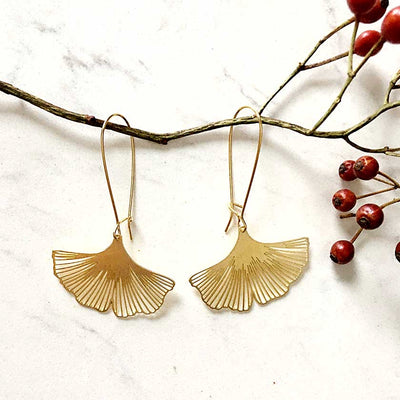 Brass Ginkgo Biloba Earrings