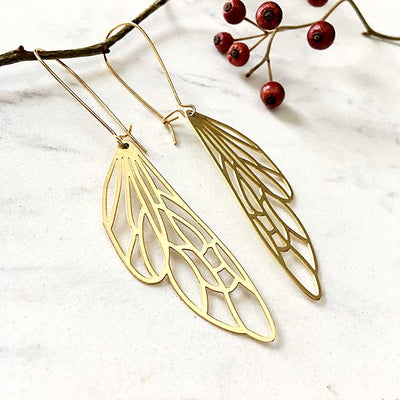 Brass Insect Wing Earrings