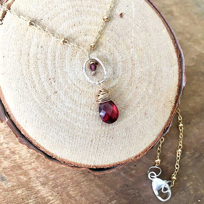 Garnet and Gold Sprite Necklace