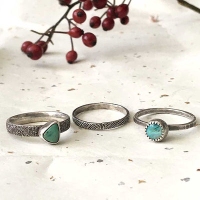 Opal and Variscite Stacker Rings