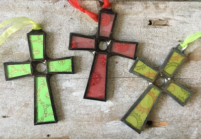 Cross Glass Ornament