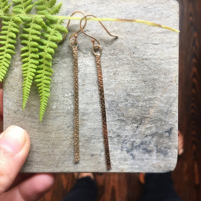 Pattern Gold Stick Earrings