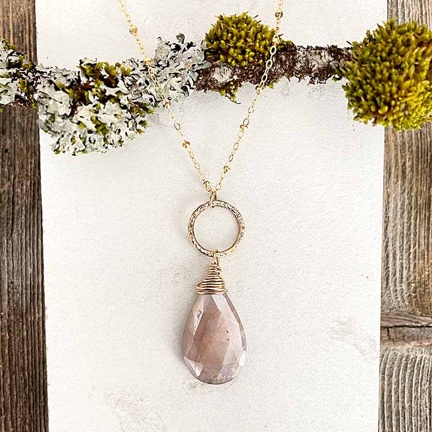 Gold Wrapped Pink Moonstone Necklace