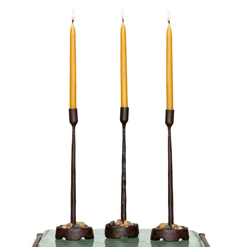 hand forged iron candleholders