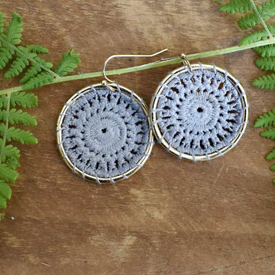 Grey Crochet Hoop Earrings