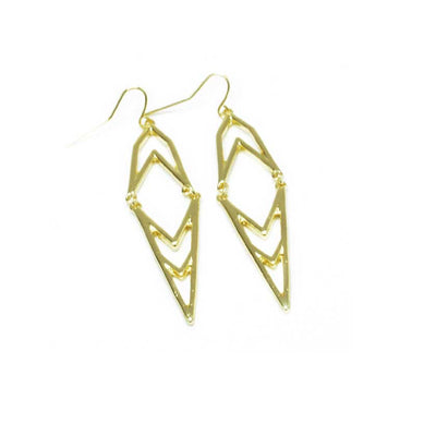 Gold Hinged Deco Earrings