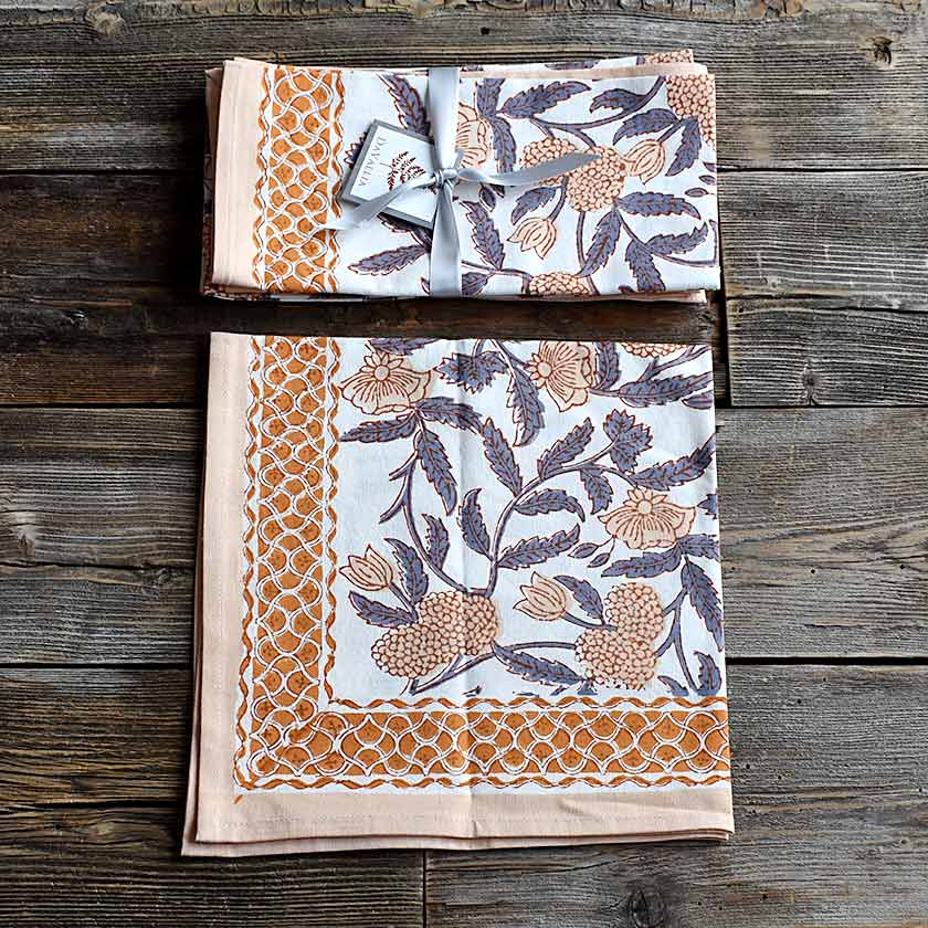 Hand-block Printed Floral Napkins - Set of 4