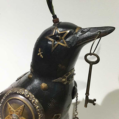 Mixed Media Raven Sculpture-LG