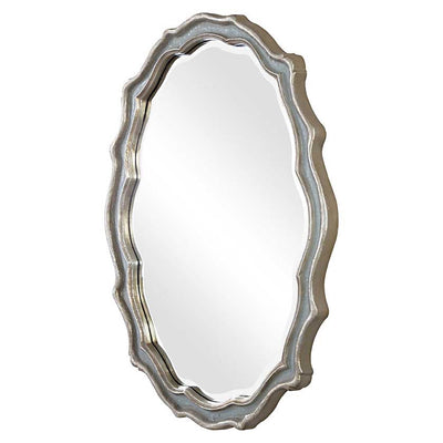 Slate Blue Oval Mirror