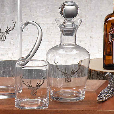Stag Head Glass Decanter with Stopper