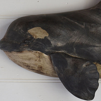 Hand-Carved Whale Wall Plaque detail