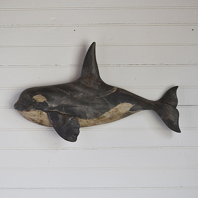 Hand-Carved Whale Wall Plaque