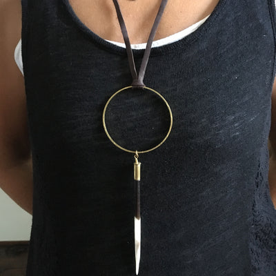 Circle Porcupine Quill Necklace on Black  Leather
