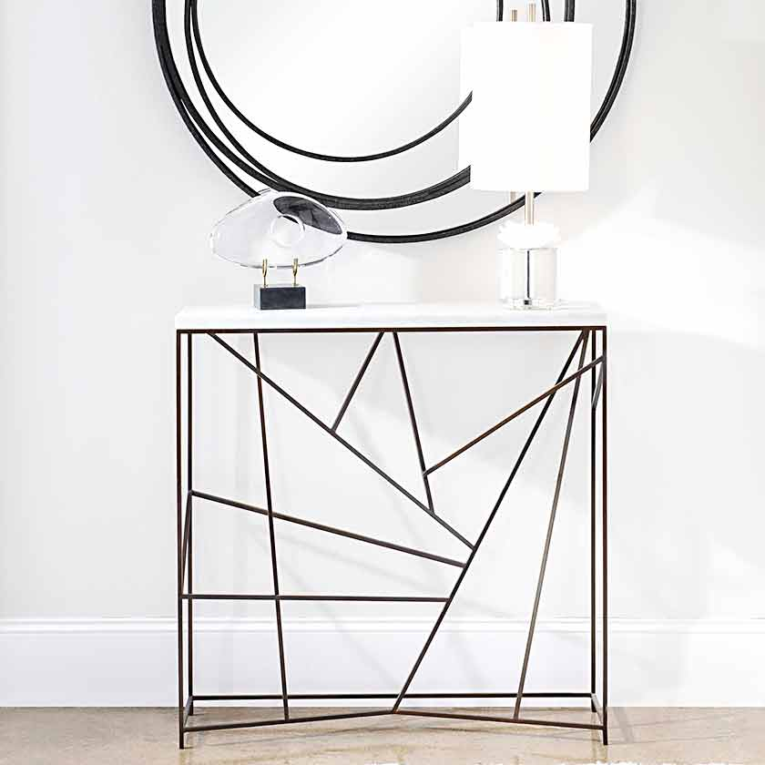 steel and marble narrow console table