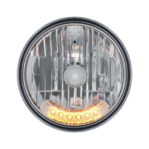 "7"" Crystal Headlight With 6 Amber Auxiliary LEDs 12V"