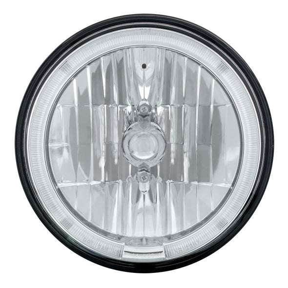 "7"" Round Crystal H4 Headlight with LED Amber Halo Ring"
