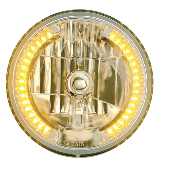 "7"" Round Crystal High/Low Headlight with 34 Amber LED Halo"