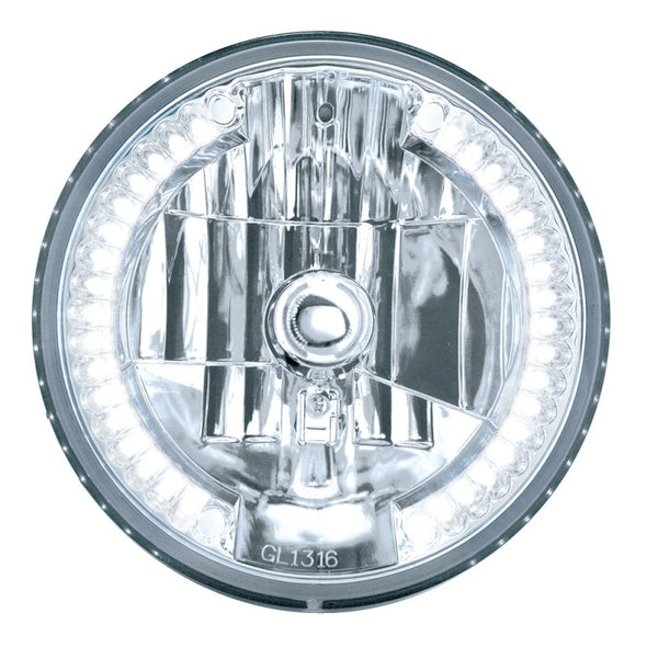 "7"" Round Crystal High/Low Headlight with 34 White LED Halo"