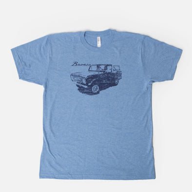 Light Blue Classic Bronco Premium Vintage Wash Retro T-Shirt