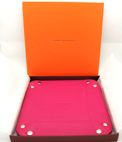Campo Marzio Pebbled Leather Button Collector Box (Hot Pink) - eckoYak
