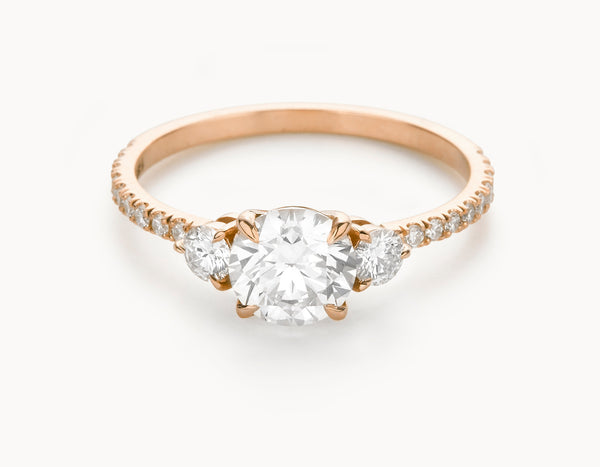 Minimal 18k Rose Gold Three Stone Pave Band Diamond Engagement Ring