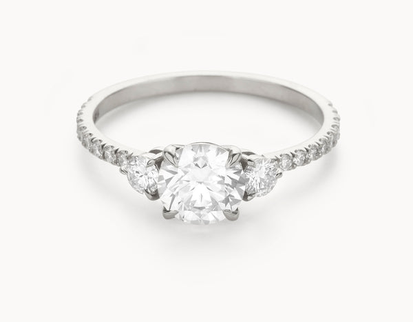 The Three Stone Pavé - 18k White Gold